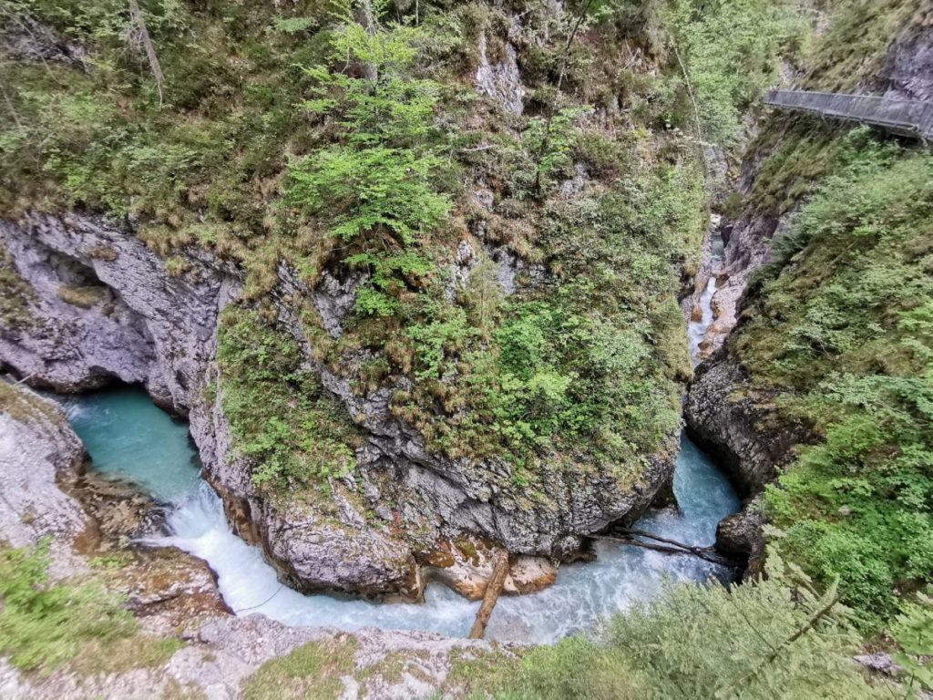 Am schönsten kannst du den Wasserlauf gleich am Eingang in die Leutaschklamm beobachten