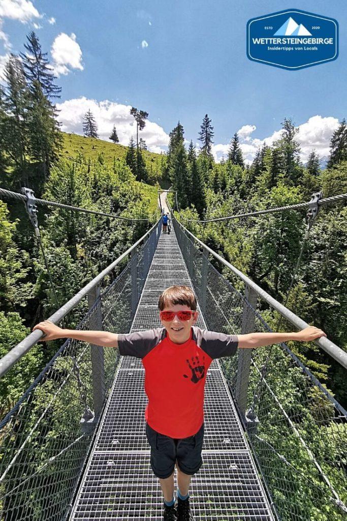 Auf dem Weg zur Tannenhütte - die Hängebrücke in Garmisch Partenkirchen